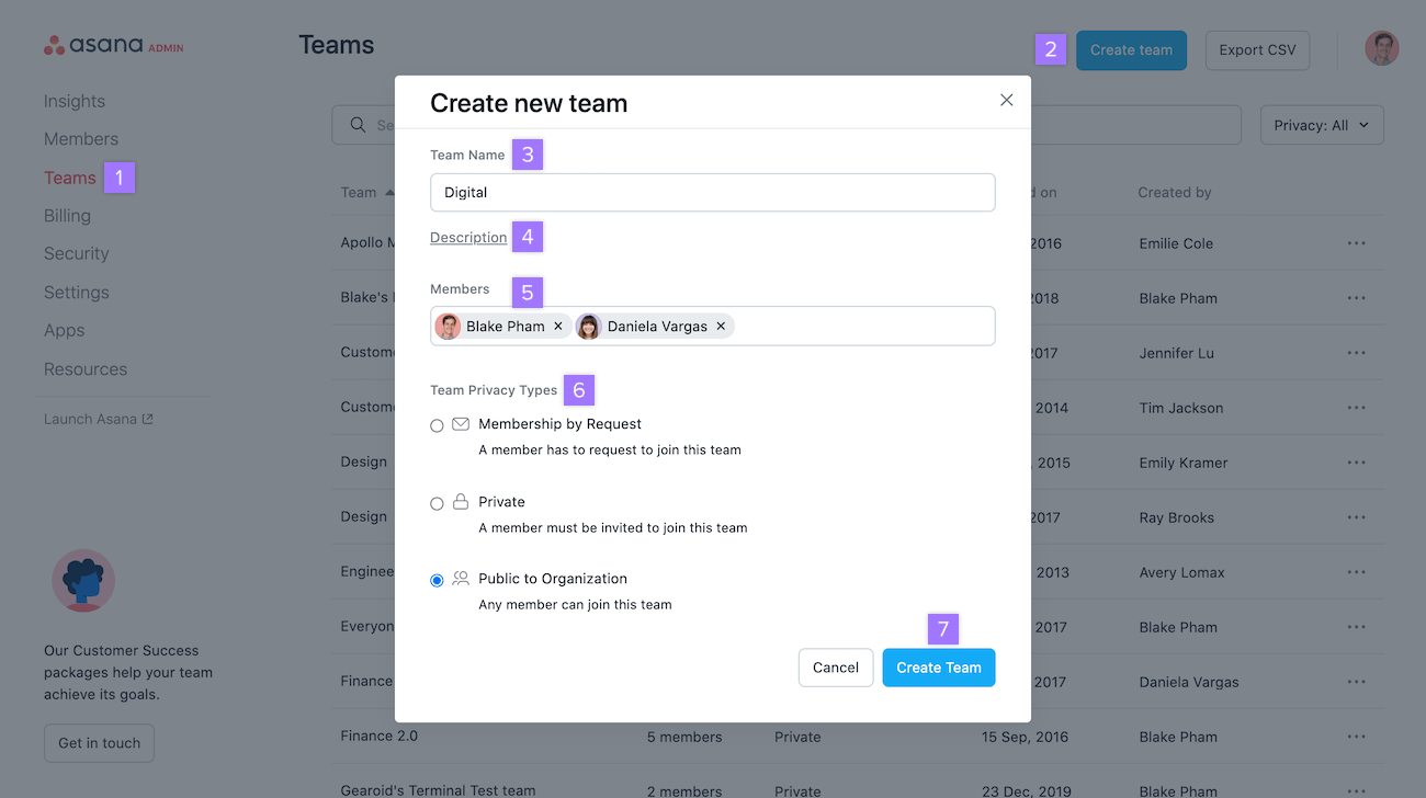 Create a team via Admin Console