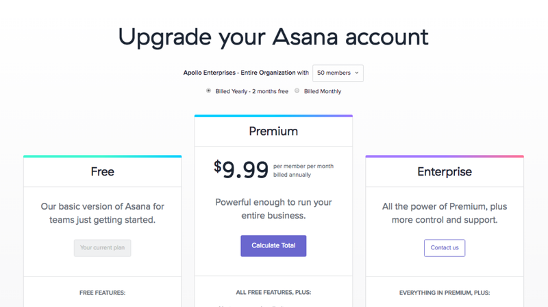 upgrade to asana premium and contact asana sales to learn more about pricing