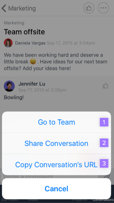 more conversation options ios