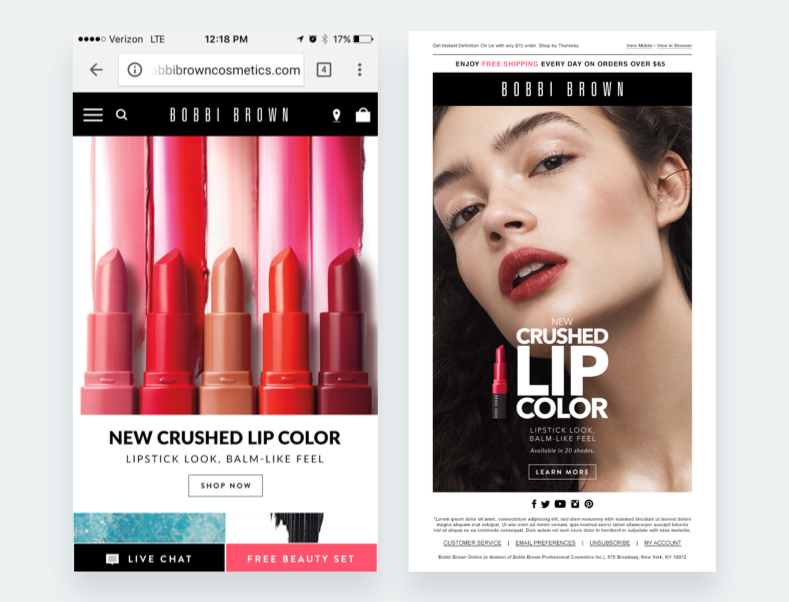 "Recursos optimizados para móviles para el lanzamiento del ""Crushed Lip Color""."