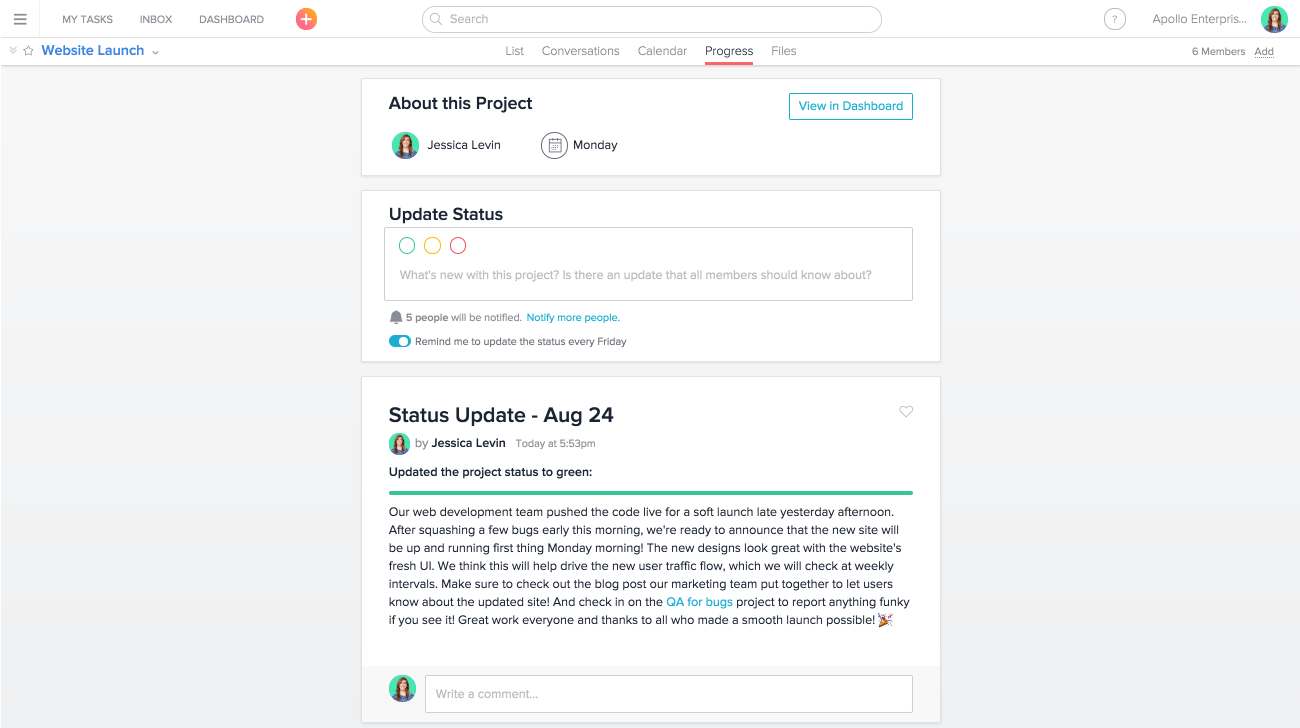 Use Progress View to see the status of any Asana project