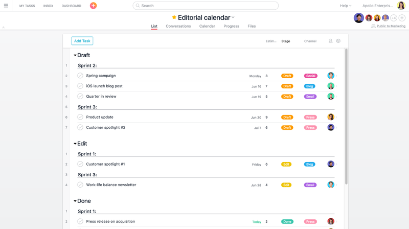 An editorial calendar pipeline built out on Asana