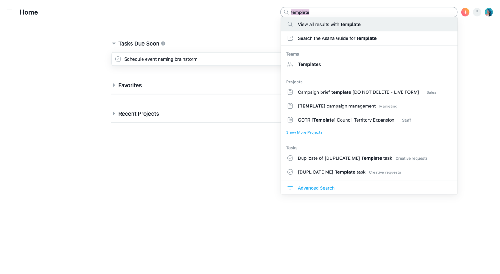 Use search in the top bar to find any work you've tracked in Asana