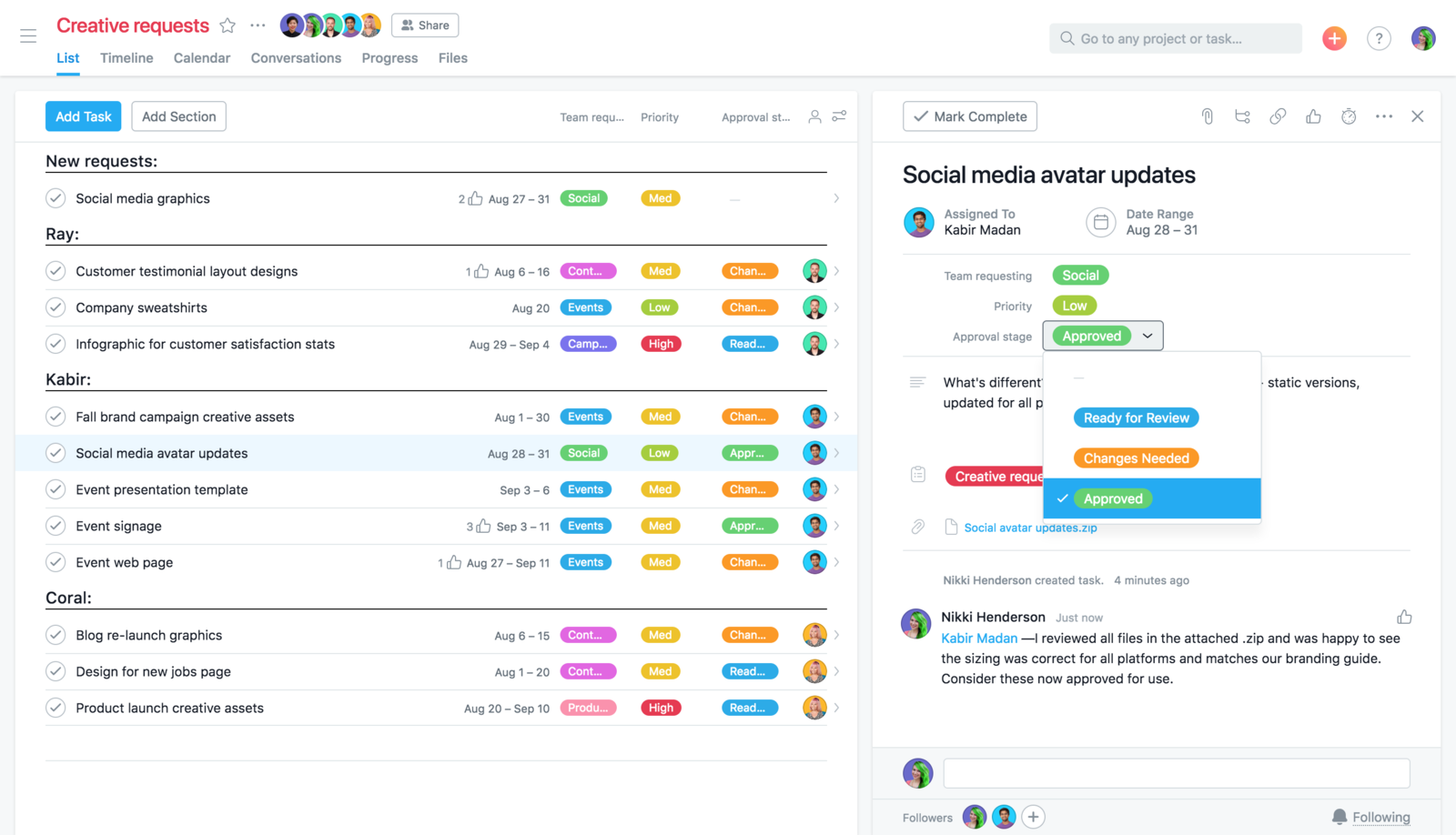 Build a better process to manage approvals and see asana task statuses.