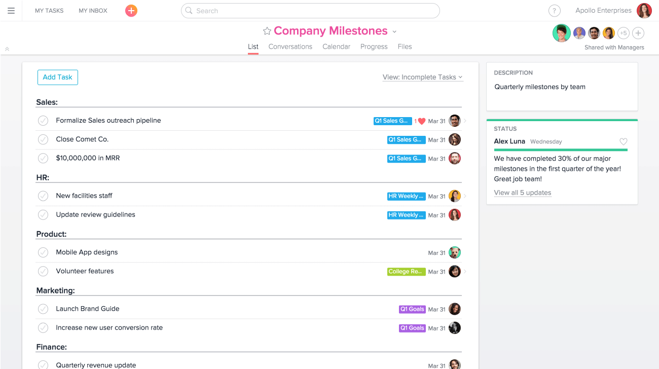 Company goals and milestones in list view