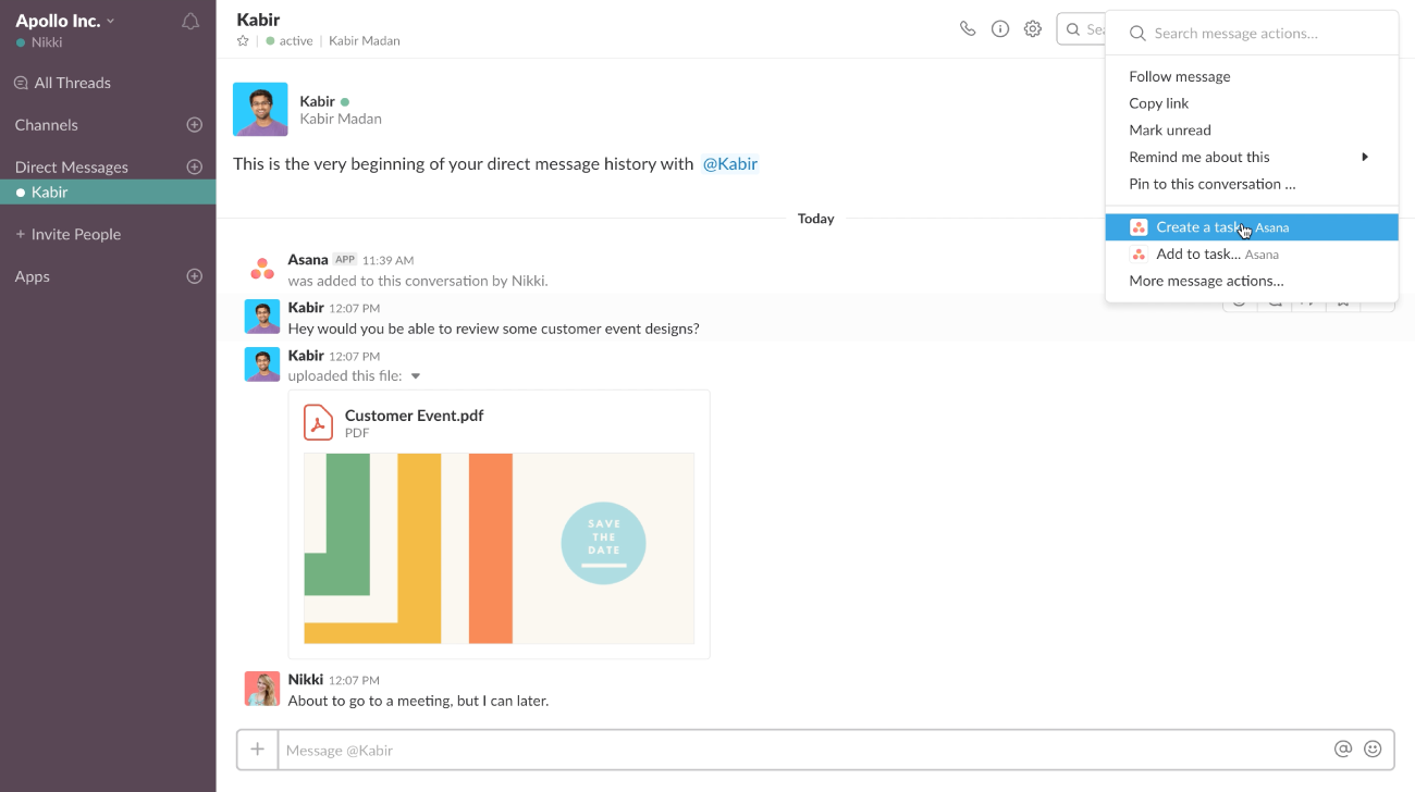 La integración de Asana para Slack te ayuda a que el trabajo avance más rápidamente sin importar dónde esté trabajando tu equipo