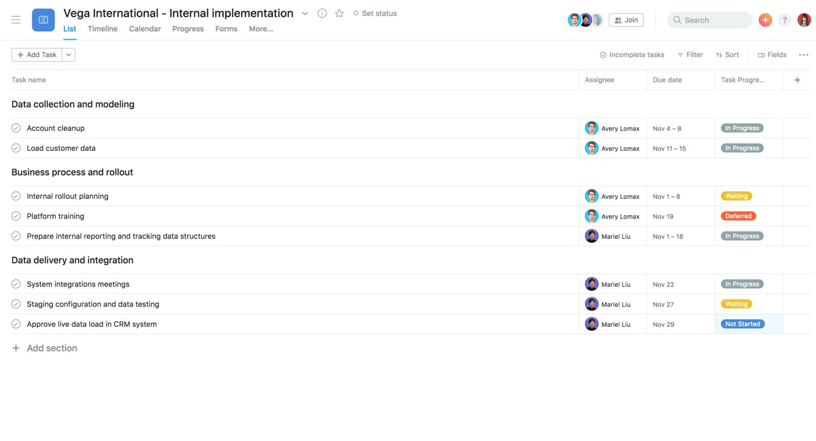 Créer sur Asana un modèle d'intégration interne à dupliquer