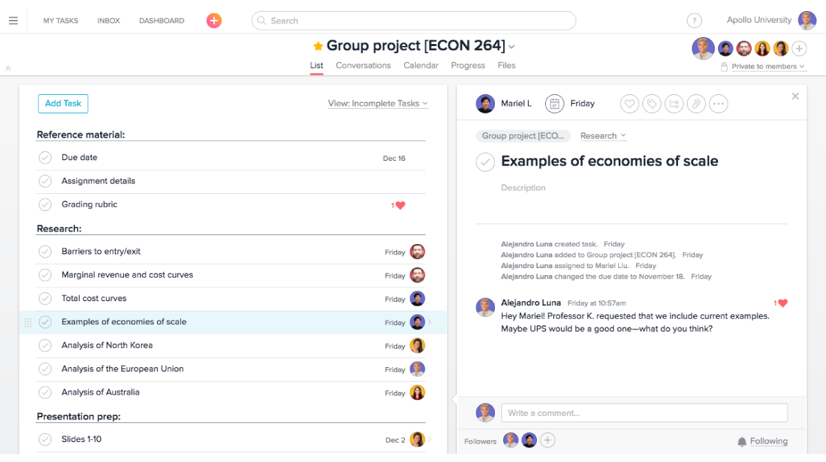 Track group projects and share notes with classmates in an Asana project