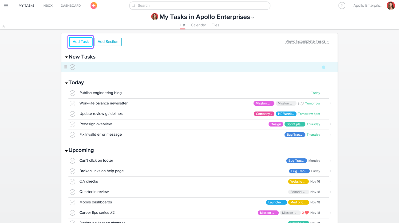 Adding a new task in Asana from My Tasks