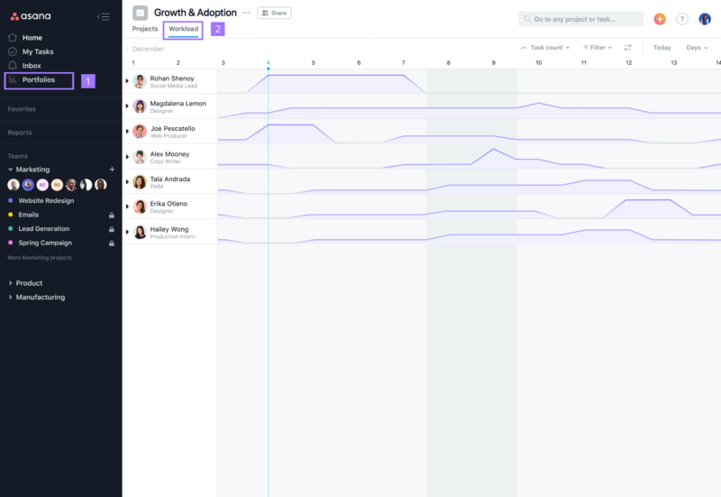 SCREENSHOT of a project Portfolio view, then clicking into the Workload tab to see team bandwidth