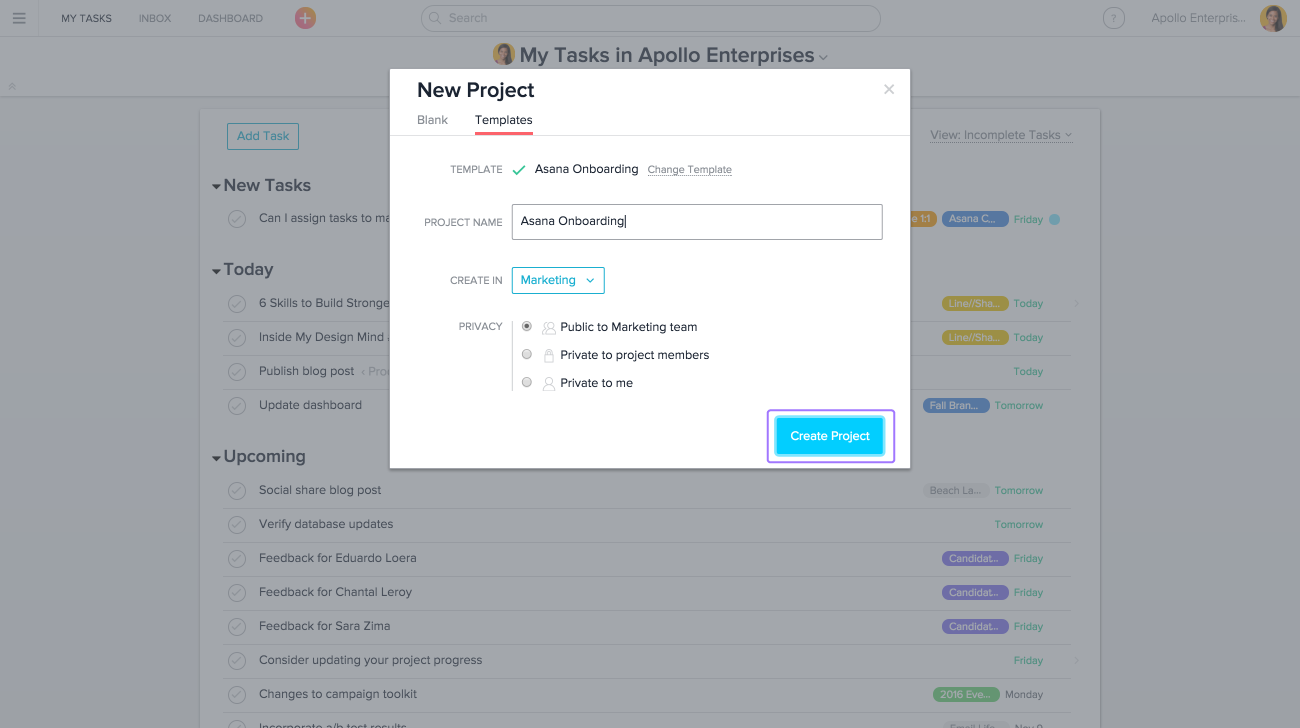 Create your project with an Asana template