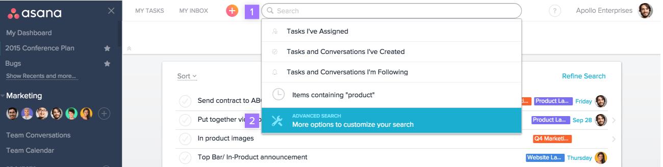 Schaltfläche für erweiterte Suche