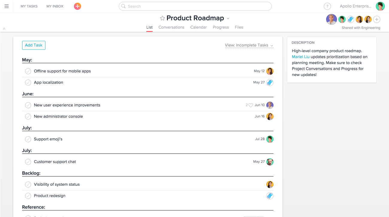 product roadmap project in list view asana