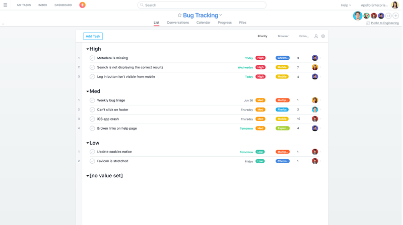 engineering teams can use asana for bug tracking