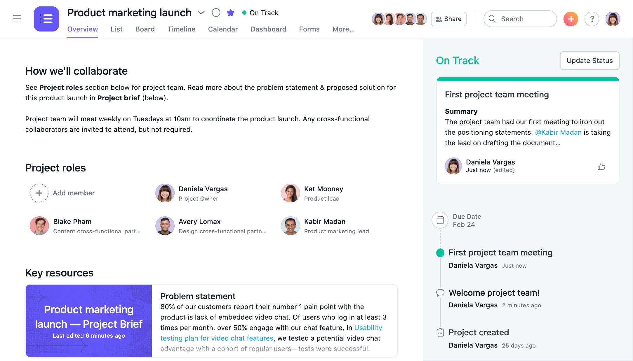 Captura de tela da Visão geral do projeto e atualizações de status