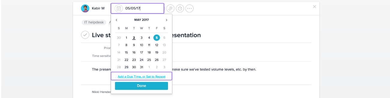 Set due times and recurring tasks in Asana for work that needs to happen by certain a certain time