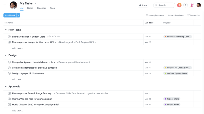 SCREENSHOT of My Tasks view in Asana with tasks organized by what's due today, soon, and new work assigned