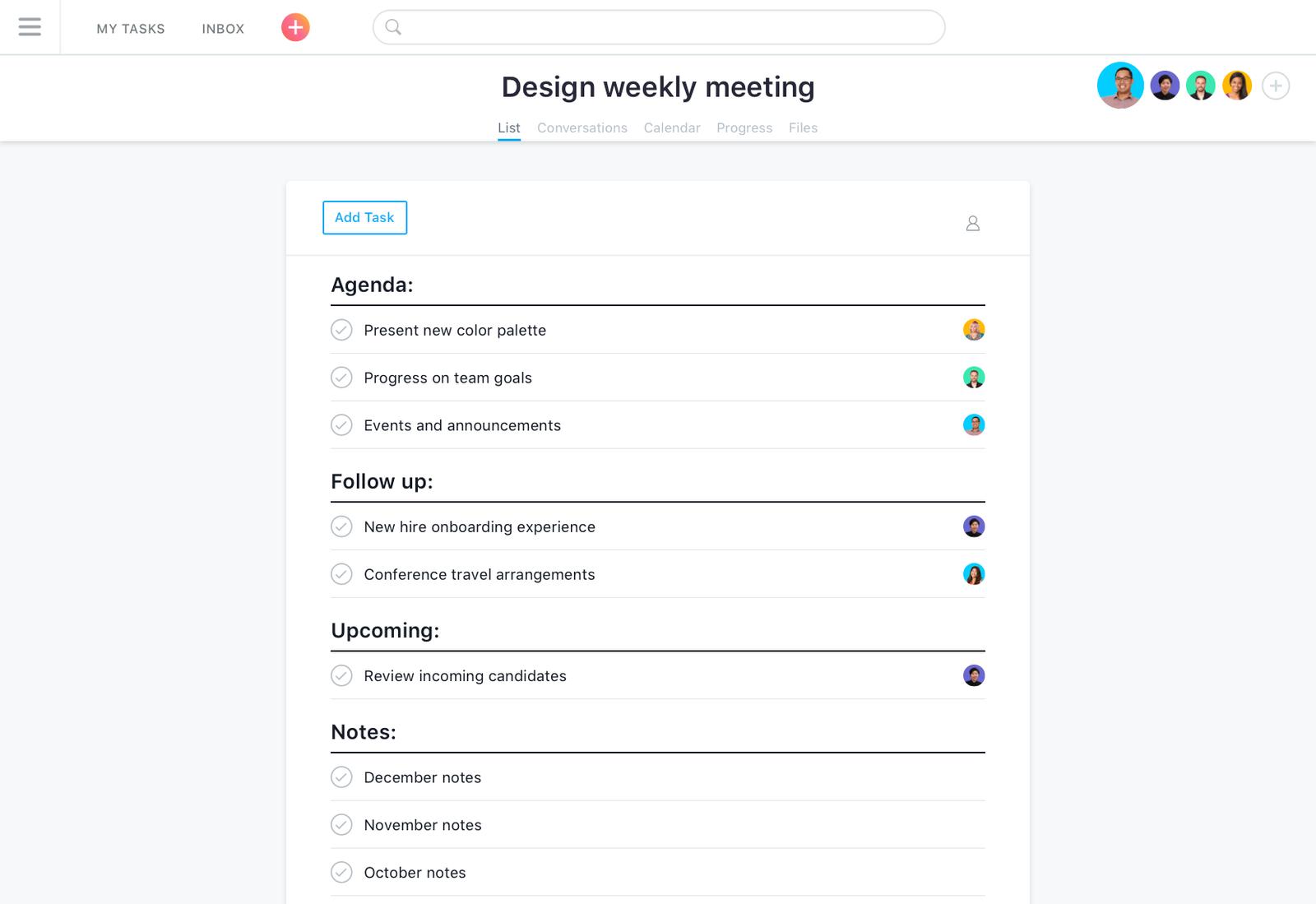 Pautas de reuniões