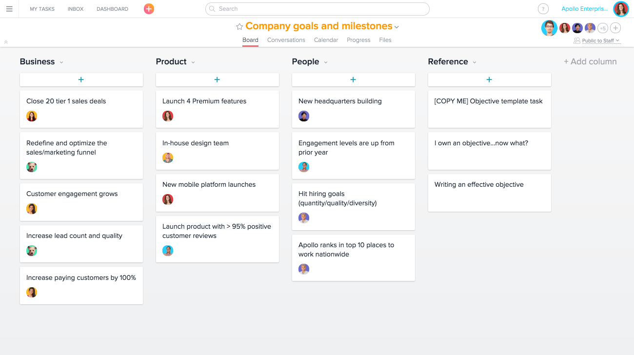 Using asana for strategic planning product guide asana company goals and objectives in boards view wajeb Choice Image