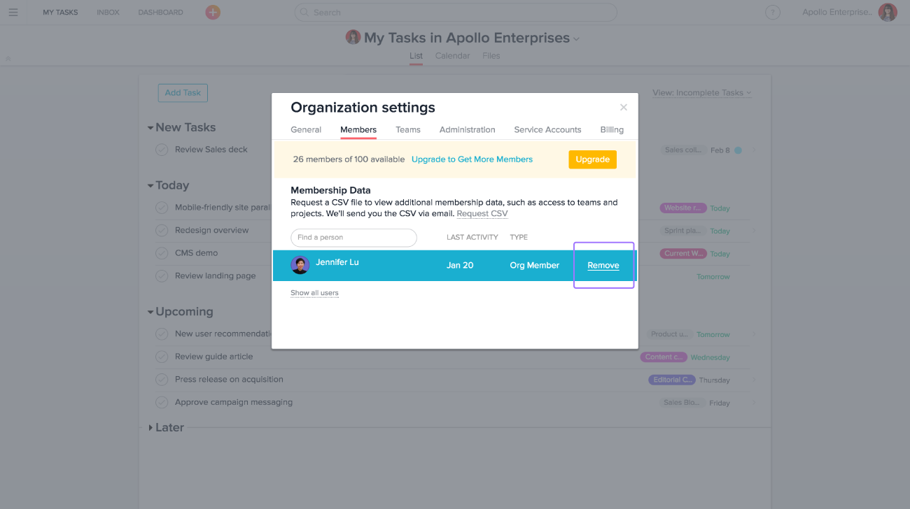 IT and admins can remove Asana members in their organization from the members tab in organization settings