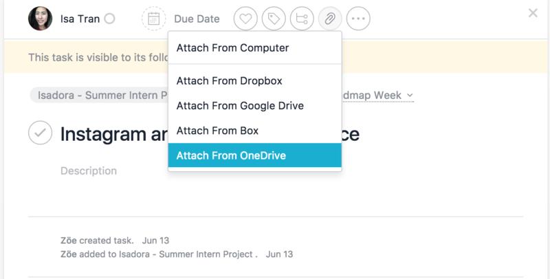 OneDrive + Asana integration: attach files to tasks · Asana