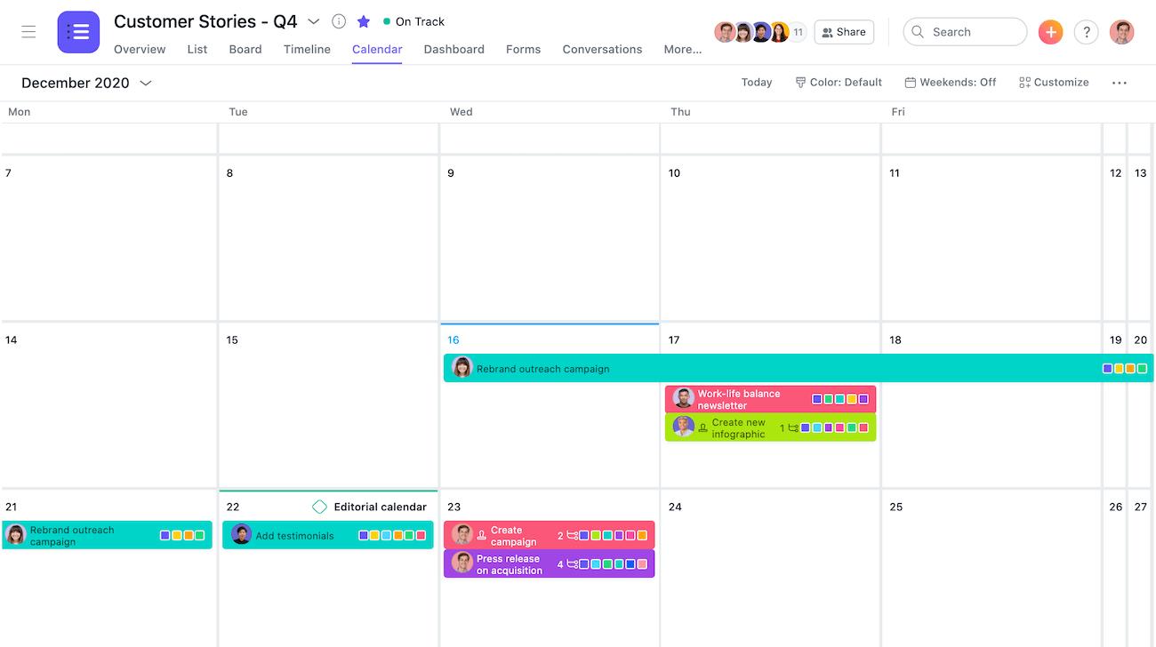 Mehrtägige Aufgaben im Kalender