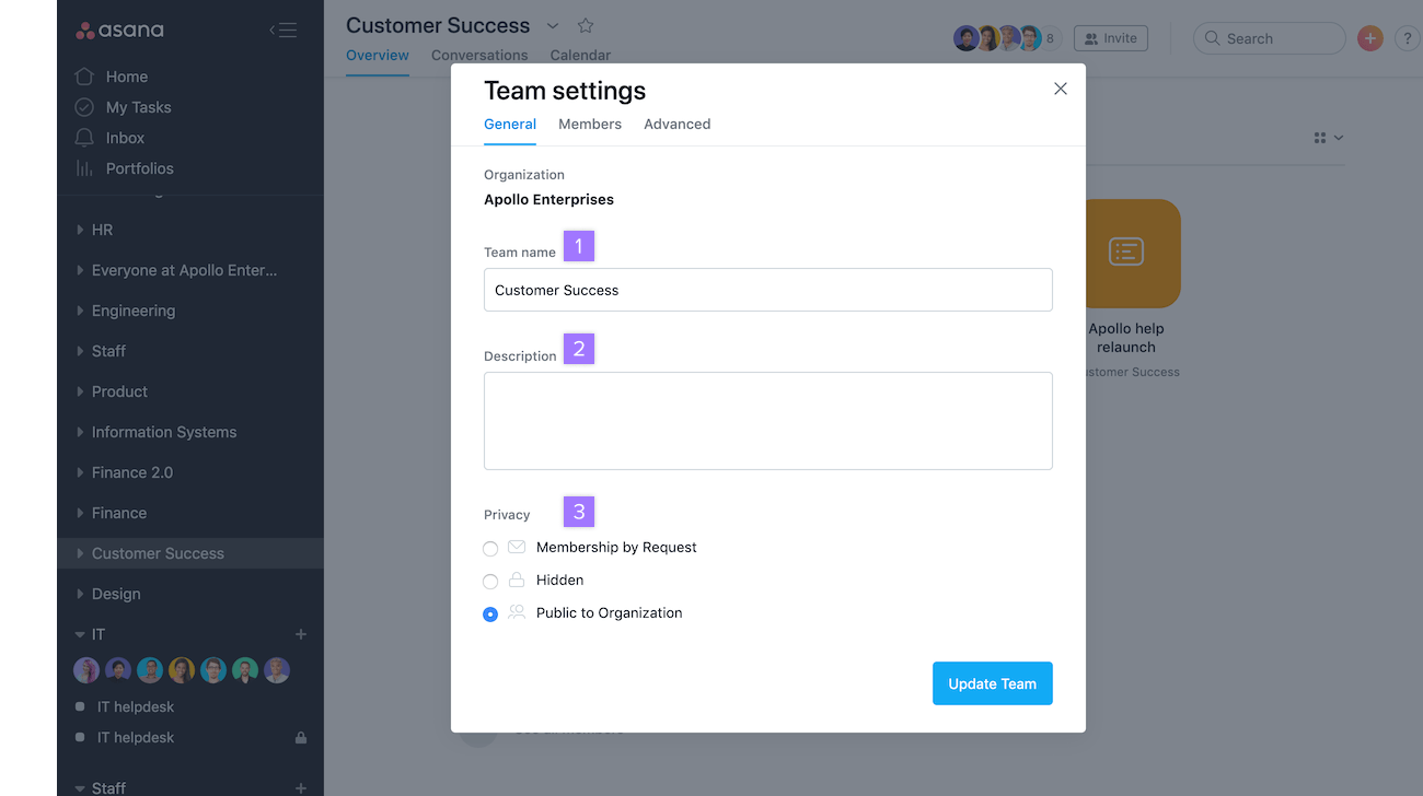 team settings tab