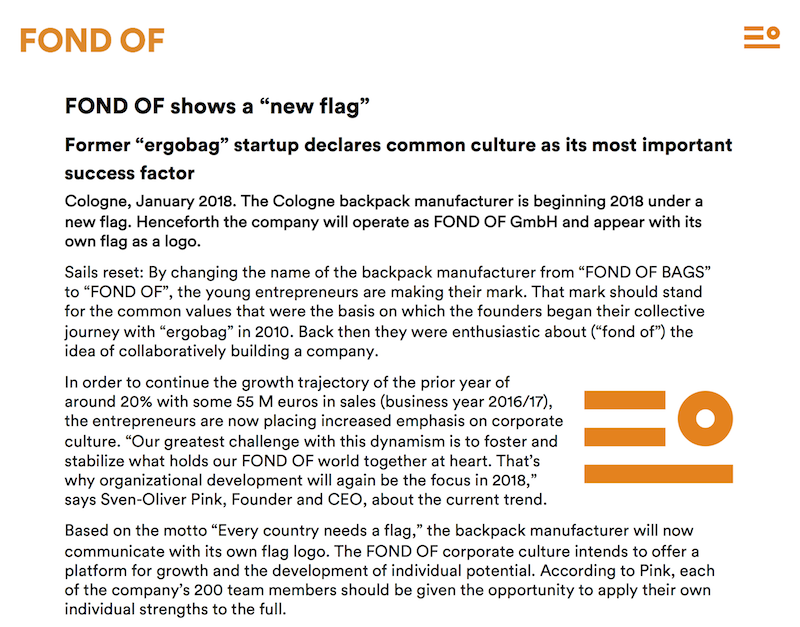 A recent press release from FOND OF's rebrand