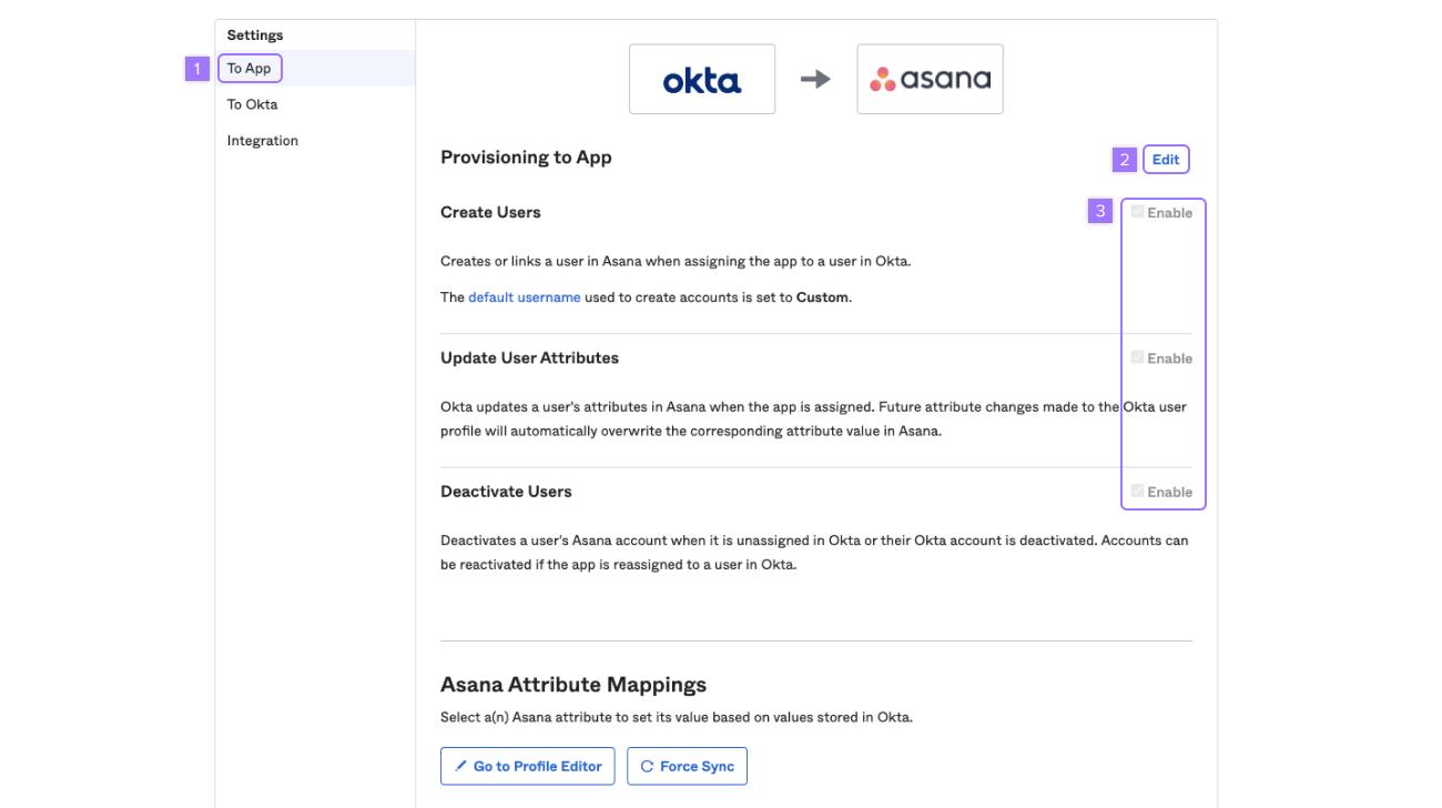 opções de provisionamento do Okta
