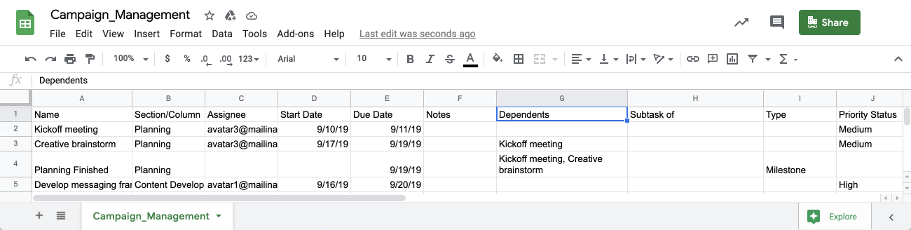 screen of spreadsheet with references for setting dependencies