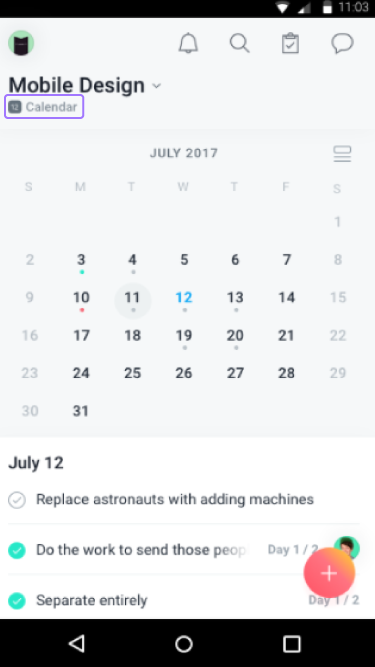 Calendário do projeto no iOS
