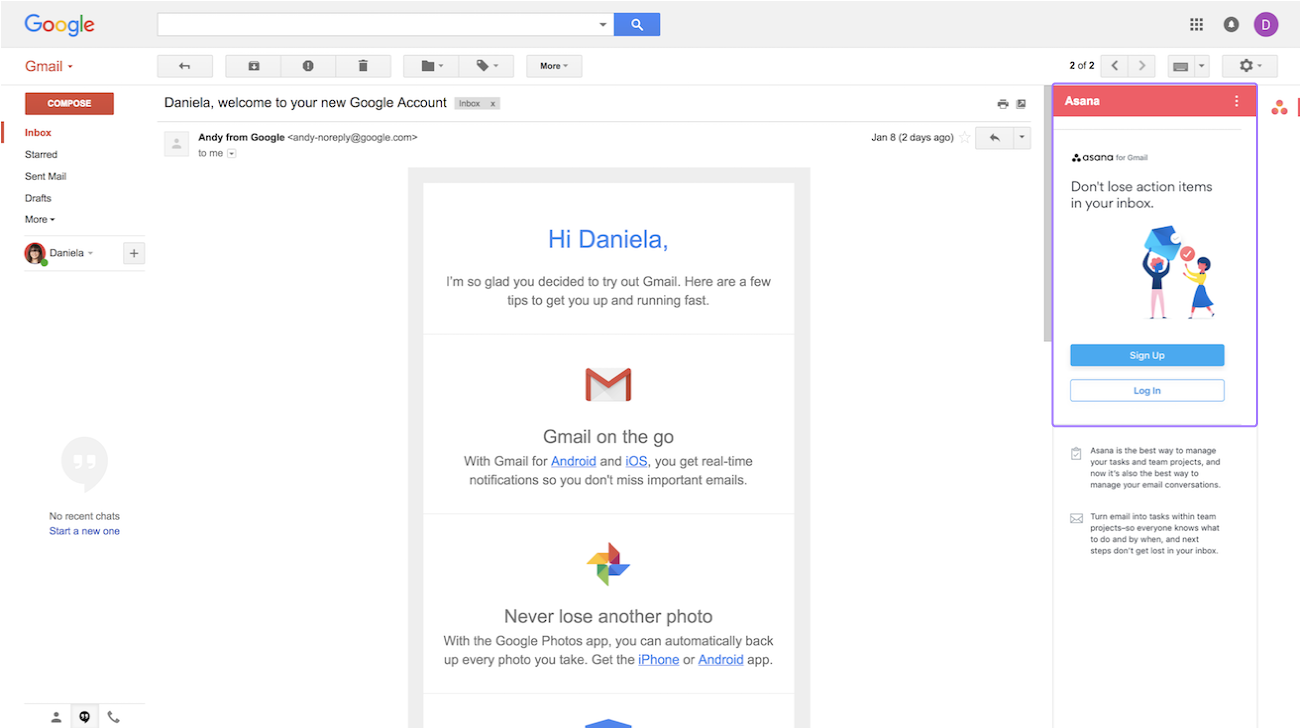 Access My Gmail Inbox gmail add-on · asana