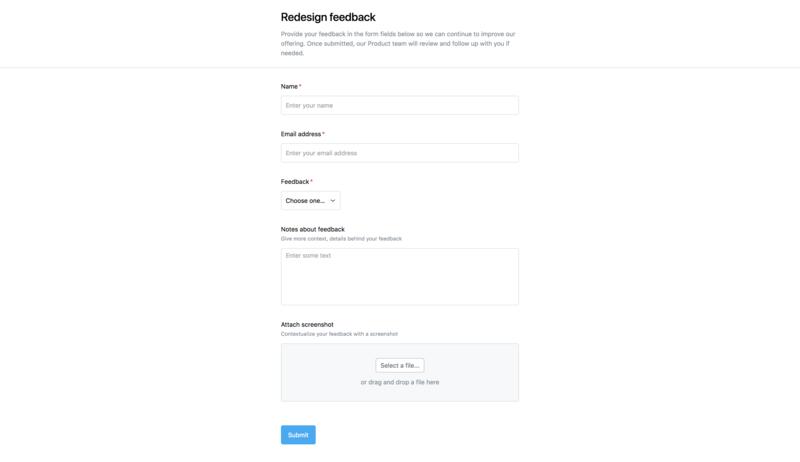 Captura de pantalla de un formulario para comentarios de clientes creado en Asana