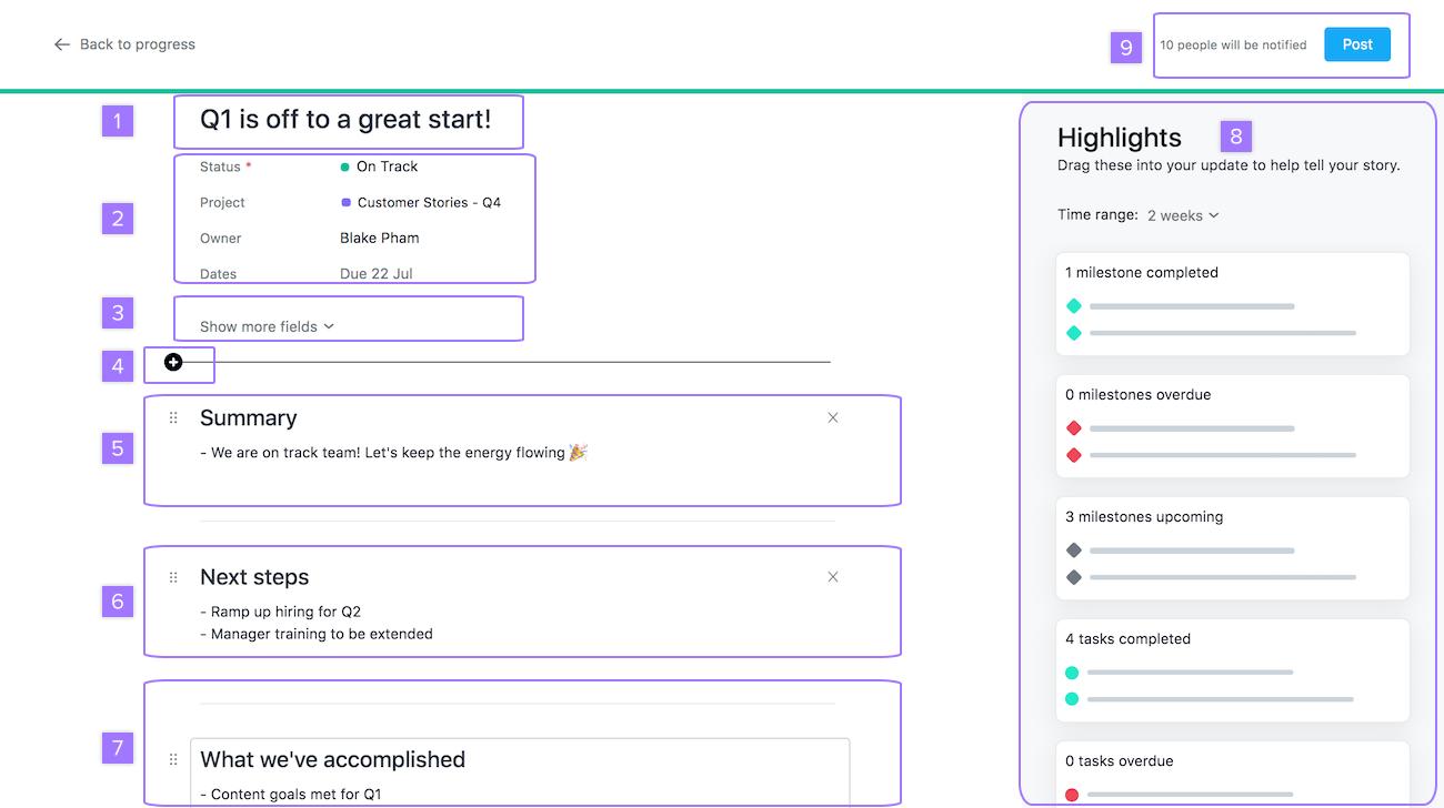 pantalla de actualización de estado