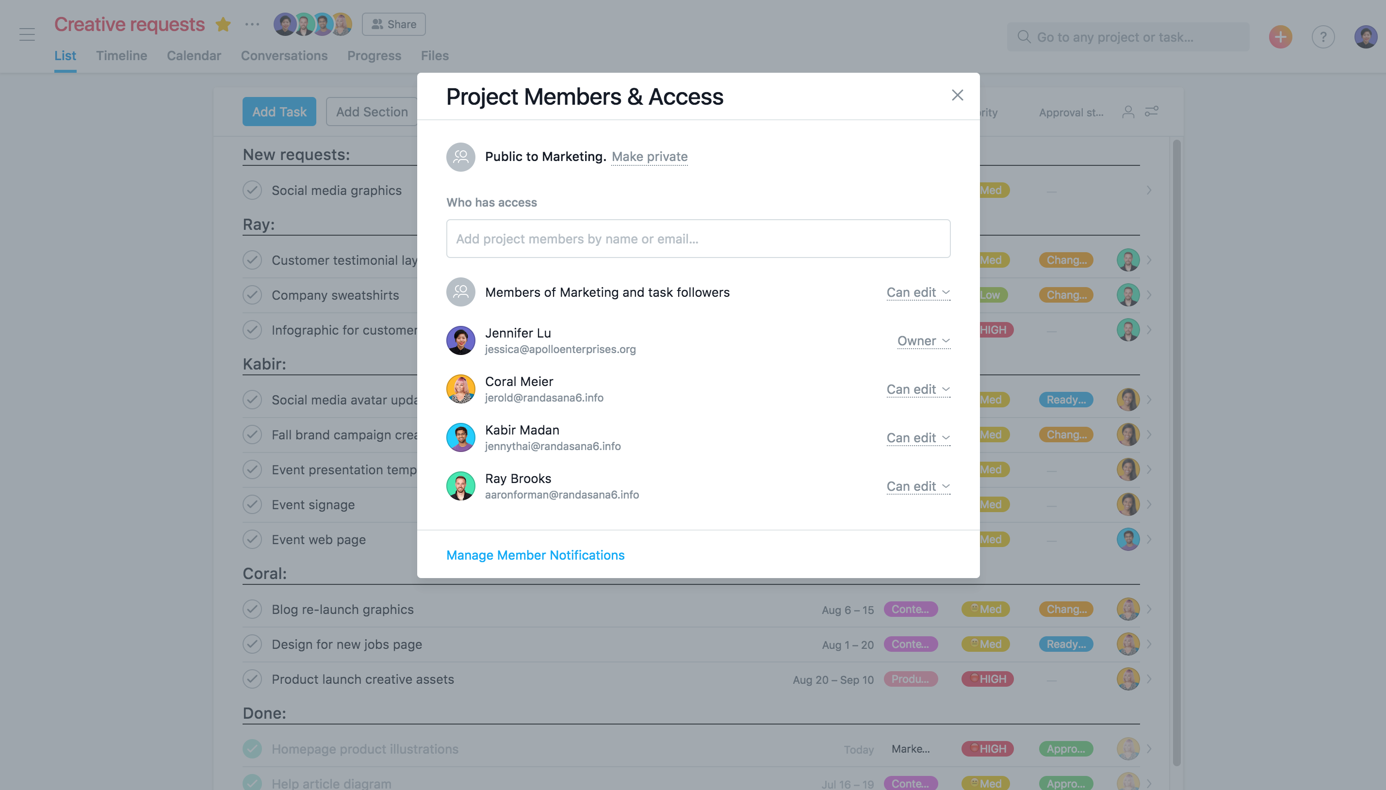 How to give a project owner in Asana