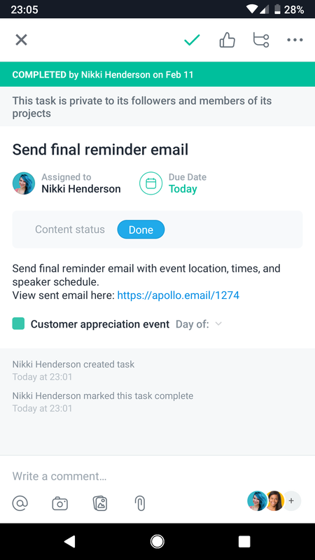 SCREENSHOT of Asana mobile task for event planning