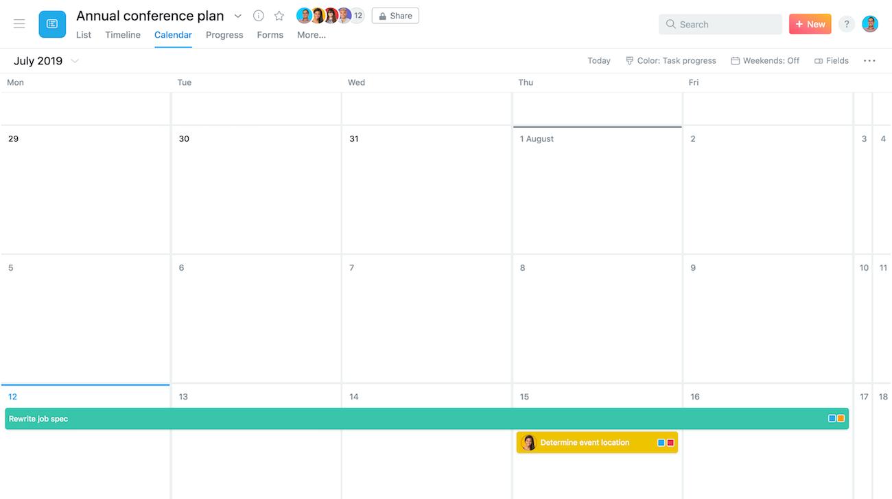 calendário de tarefa de vários dias