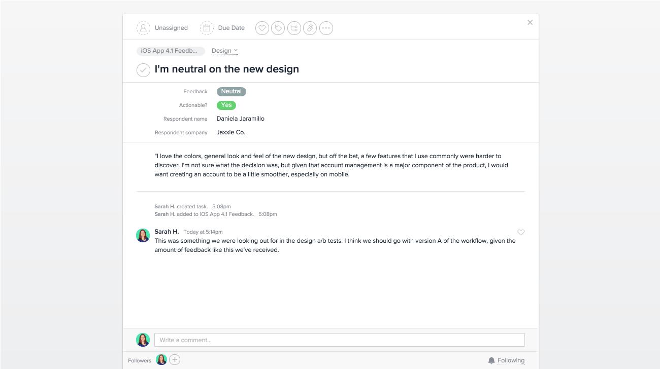 Monitore o feedback do produto com campos personalizados na Asana