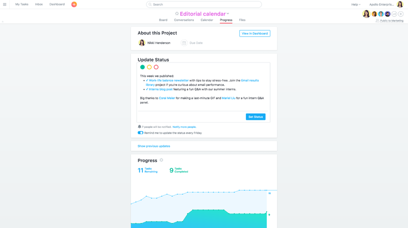 Post status updates in Asana from the Progress tab at the top of any project