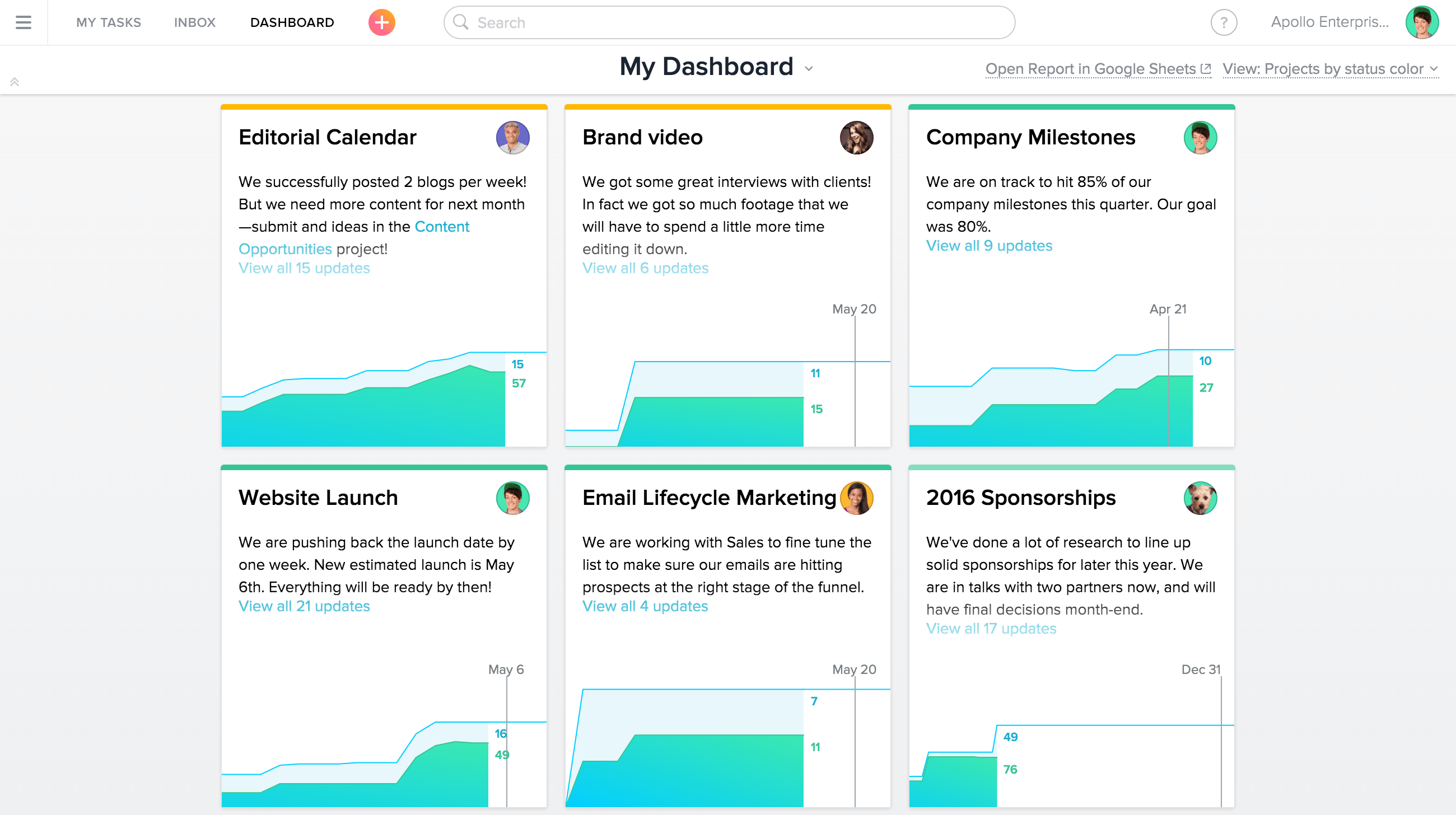 status updates and project progress product guide asana