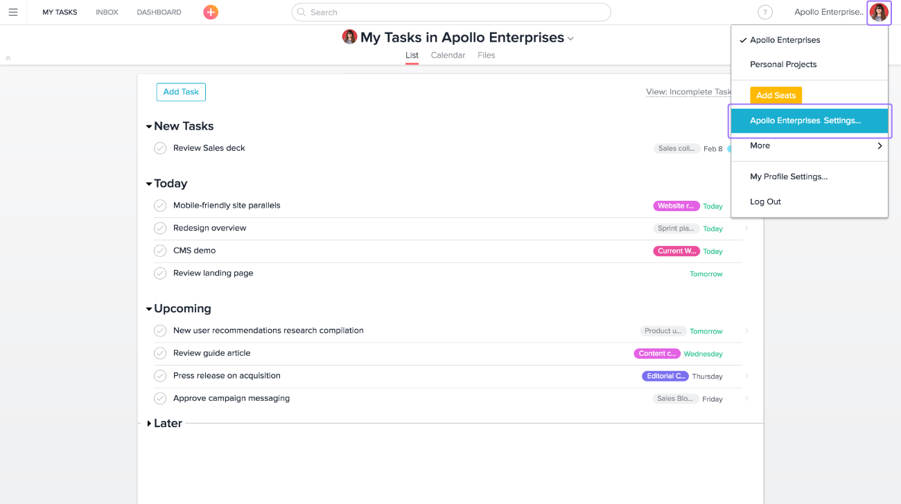 IT and admins can access their Organization's settings by clicking their avatar in Asana