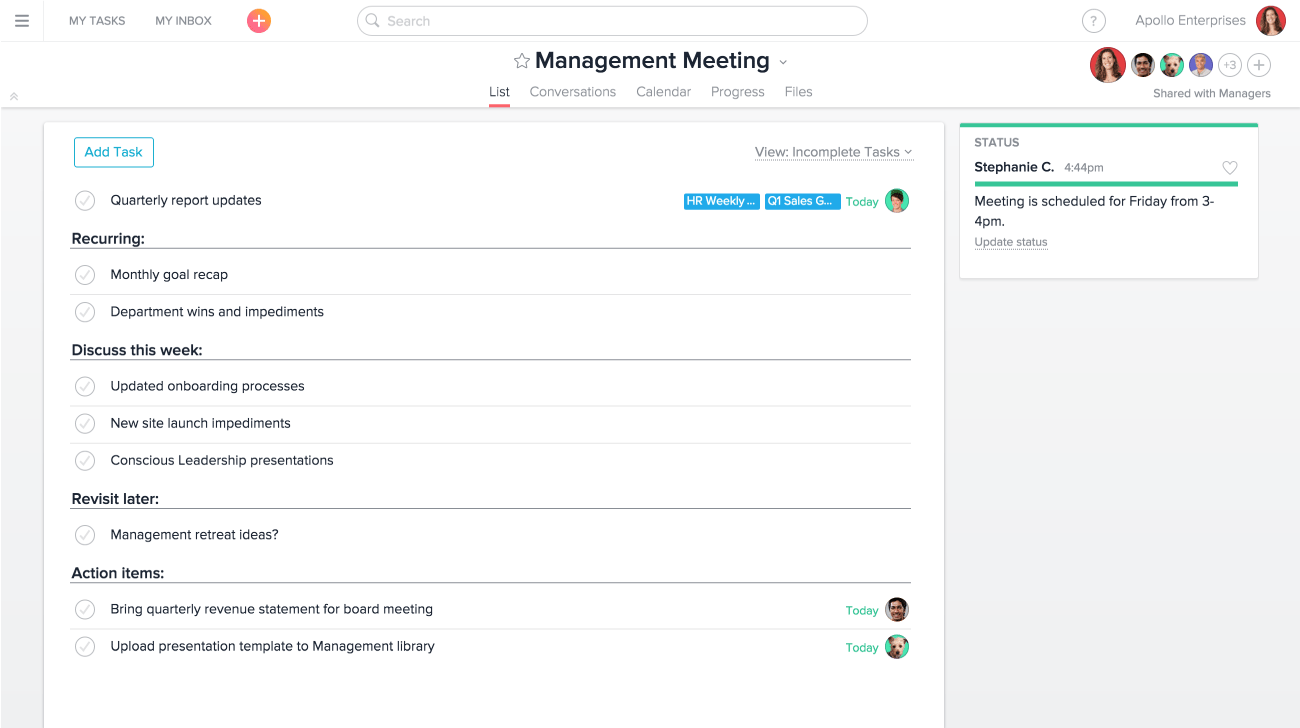 Management Meeting project in Asana