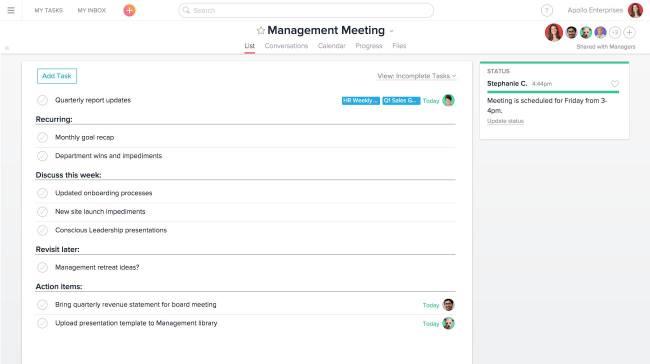 Proyecto de reunión de gestión en Asana
