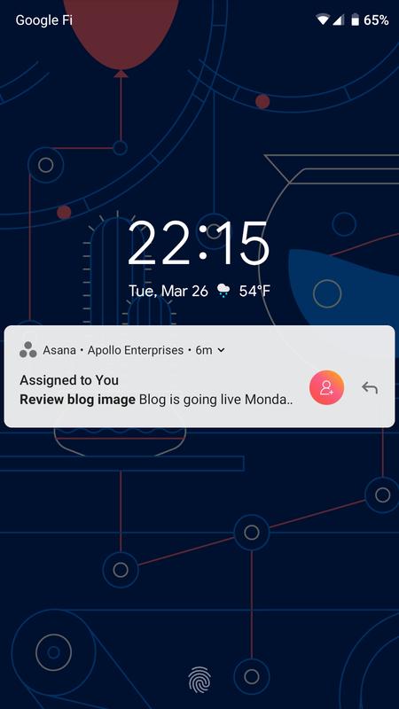 Android デバイスのホーム画面に表示される Asana モバイル通知のスクリーンショット