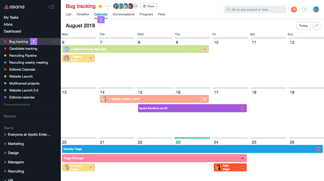 Asana calendar view options | Product guide · Asana