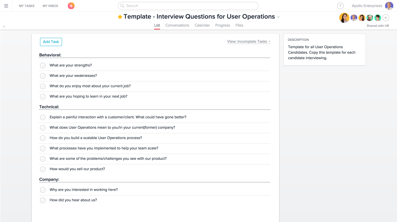 how hr teams can use asana for interviewing product guide · asana interview questions project in asana