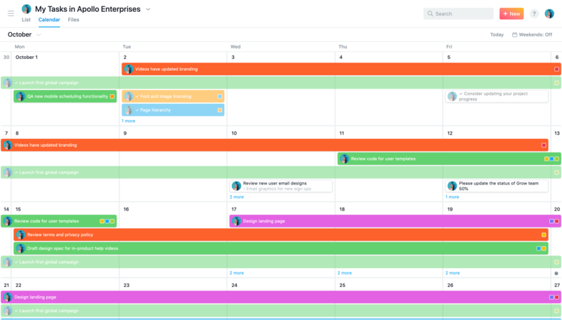 SCREENSHOT of Calendar View in My Tasks to plan and manage your work schedule