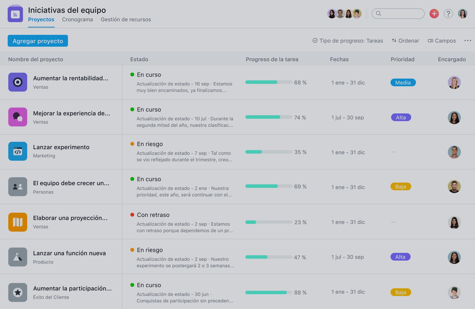 asana reporting statuses