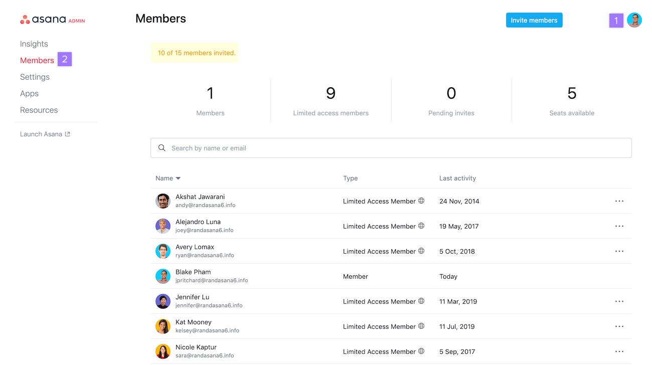 accéder à la liste des membres d'un espace de travail
