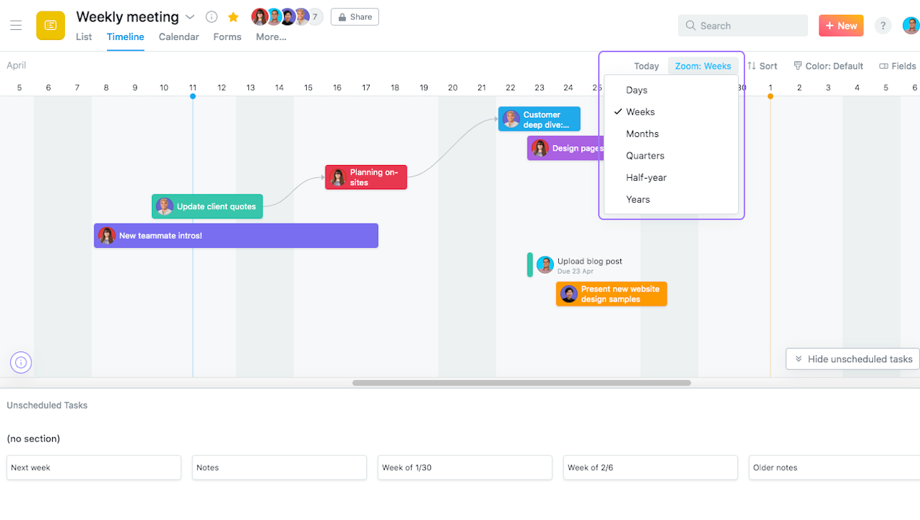 Zoom out on your Timeline to view six to nine months of your project plan